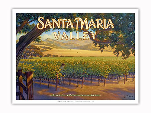 Pacifica Island Art Santa Maria Valley Wineries - Central Coast AVA Vineyards - California Wine Country Art by Kerne Erickson - Master Art Print - 9in x 12in