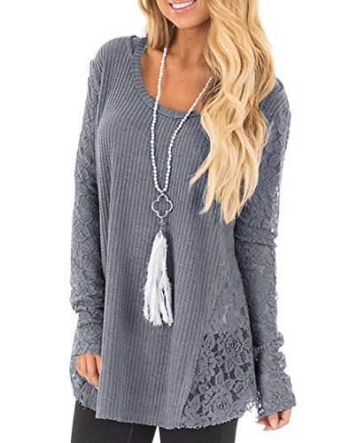 Jeeluory Women's Casual Long Sleeve Knitted Crochet Sweater Pullover Tops Grey Lace Edge Tunic Sweater