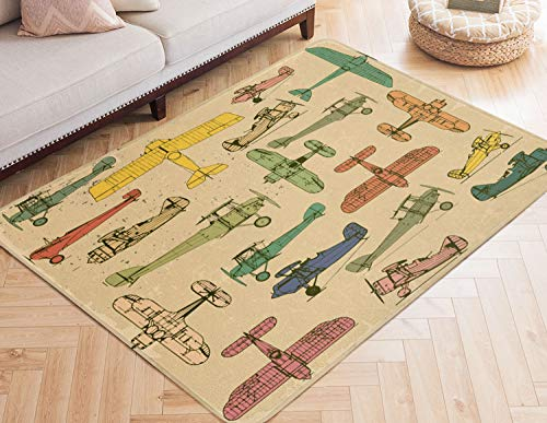 Area Rugs Airplanes Large Rug Mat for Living Room Bedroom Playing Room 7' x ()