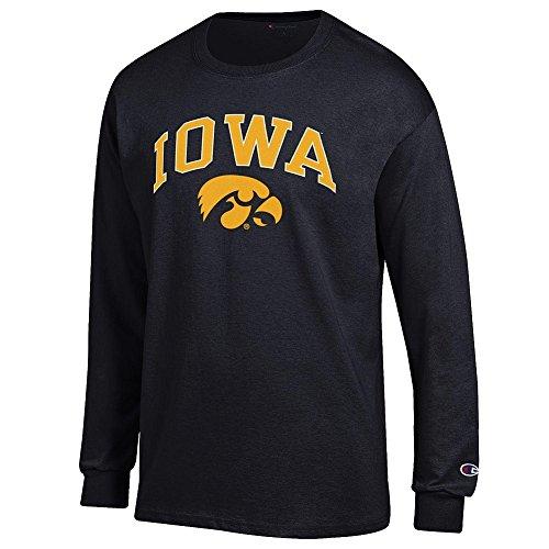 - Elite Fan Iowa Hawkeyes Men's Long Sleeve Arch Tee Shirt, Black, Medium