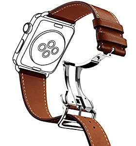 Smart Watch Band,Newest Fashion Genuine Leather Band Deployment Buckle Single Tour Strap Band for apple watch series 1/2/ series3 Watchband Replacement Strap men/women 38/42mm bracelet
