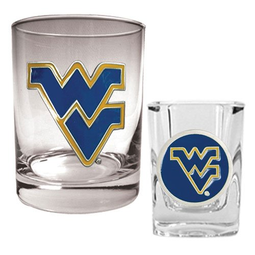 NCAA West Virginia Mountaineers Rocks Glass & Shot - High West Whiskey Glasses