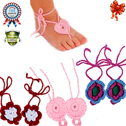 Baby Girl Barefoot Sandals Shoes Newborn Infant Toddler Flower Shoes Prewalker (3 pcs multicolor) from COFFLED