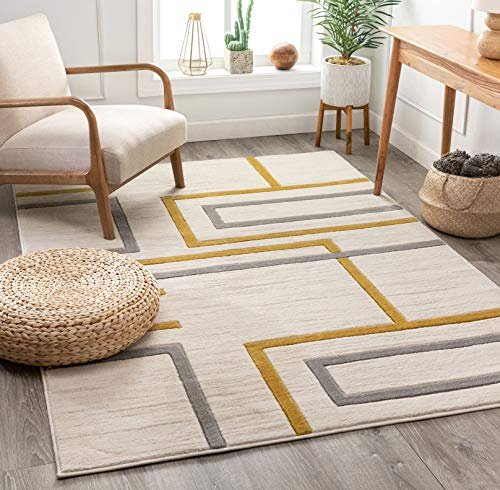 "Well Woven Good Vibes Fiona Gold Modern Geometric Lines 7'10"" x 10'6″ 3D Texture Area Rug"