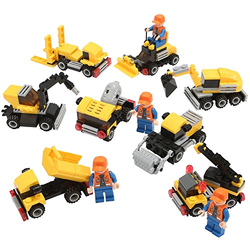 Engineering Construction Building Blocks, Newisland 393PCS Building Set with 8 Unit Vehicles (Construction Block)