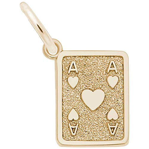 Rembrandt Charms Ace of Hearts Charm, Gold Plated Silver