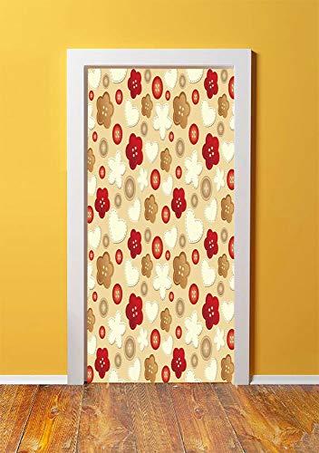 (Beige 3D Door Sticker Wall Decals Mural Wallpaper,Cute Illustration of Hearts Buttons and Flowers Feminine Playful Modern Art Deco Decorative,DIY Art Home Decor Poster Decoration 30.3x78.7897,Brown Be)