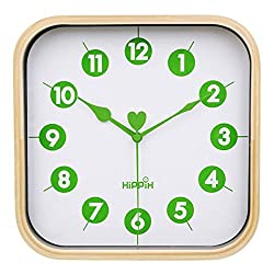 HIPPIH Silent Square Wall Clock - Wood 9 inch Non Ticking Digital Quiet Sweep Decorative Vintage Wooden Clocks for Office/Kitchen/Bedroom/Living Room