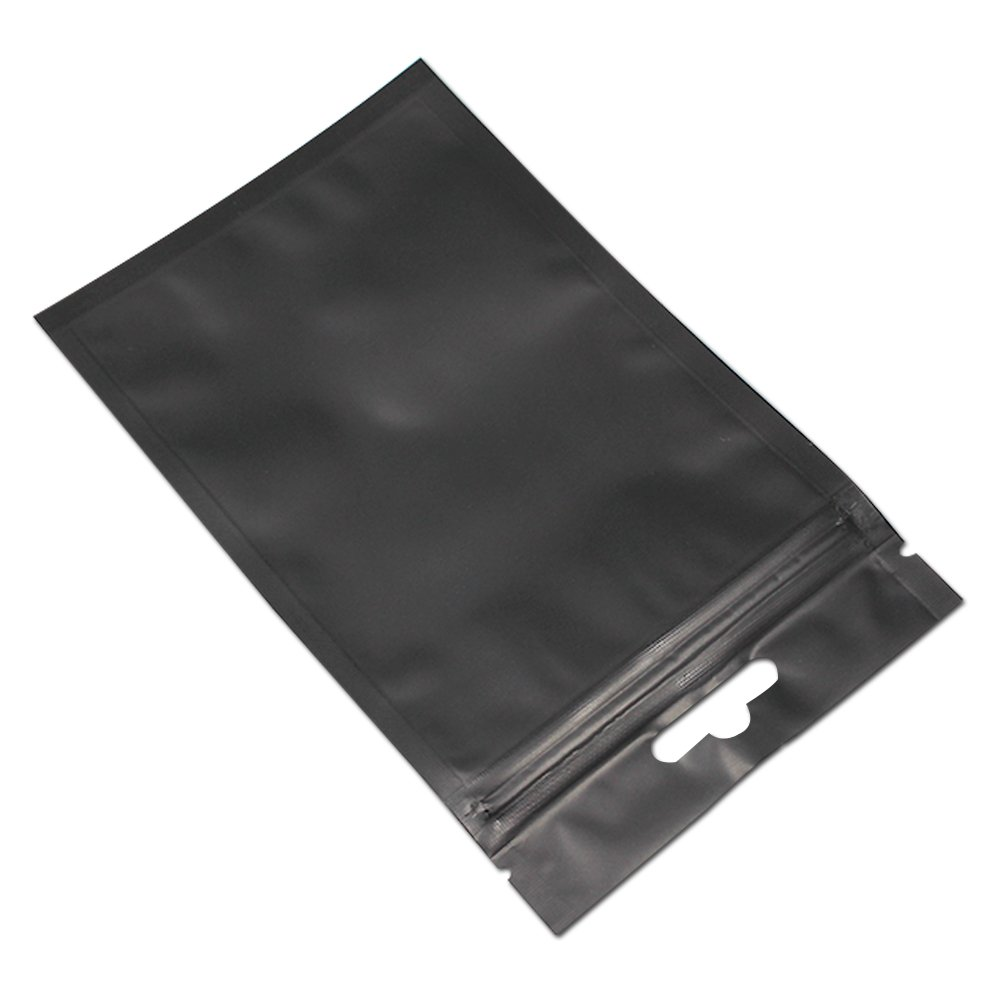 200 Pcs Black / Clear Self Seal Zipper Top Plastic Storage Packaging Bag Retail Ziplock Packing Pouch Polybag With Hang Hole for Snack Coffee 9 x 15cm(3.5 x 5.9 inch) by FERENLI (Image #4)
