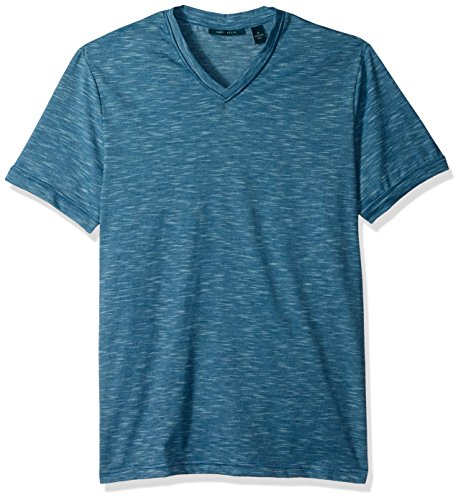 Perry Ellis Men's Texture Slub V-Neck Tee Shirt, Dark Cendre Blue, Large (V-neck Tee Ultrasoft)