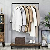 VASAGLE Clothes Rack, Industrial Pipe Style Rolling Garment Rack with Shelf, Lockable Wheels, Heavy Duty Clothing Rack for Laundry Room, Retail Store, Rustic Look UHSR65BX