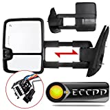 ECCPP For 07-14 Chevy GMC Towing Door Side Mirrors Power Heated Led Signal Lamps Passenger Driver Left Right Side Tow Mirror Pair