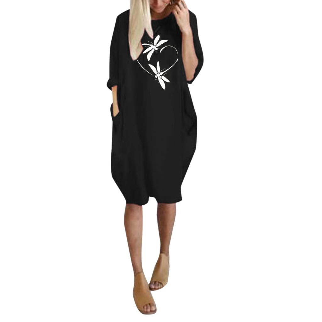 Tantisy ♣↭♣ Women's Oversize Baggy Dress Dragonfly Long Sleeve Print Loose Swing Casual Summer Mini Dress with Pockets Black