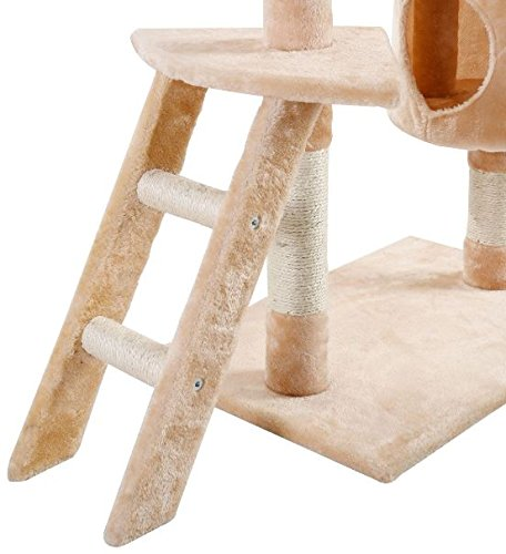 K&A Company Cat Tree Tower Condo Kitten Hammock House Furniture Scratcher Pet 60'' New Scratching Post Toy Activity Deluxe Beige