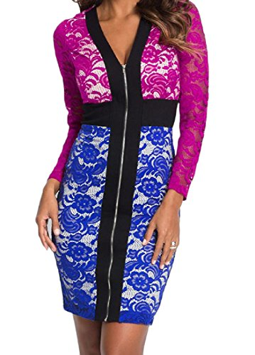Dress Evening Zip Lace Bodycon Womens Basic Hit Blue Coolred Party Color wxAz7qxP