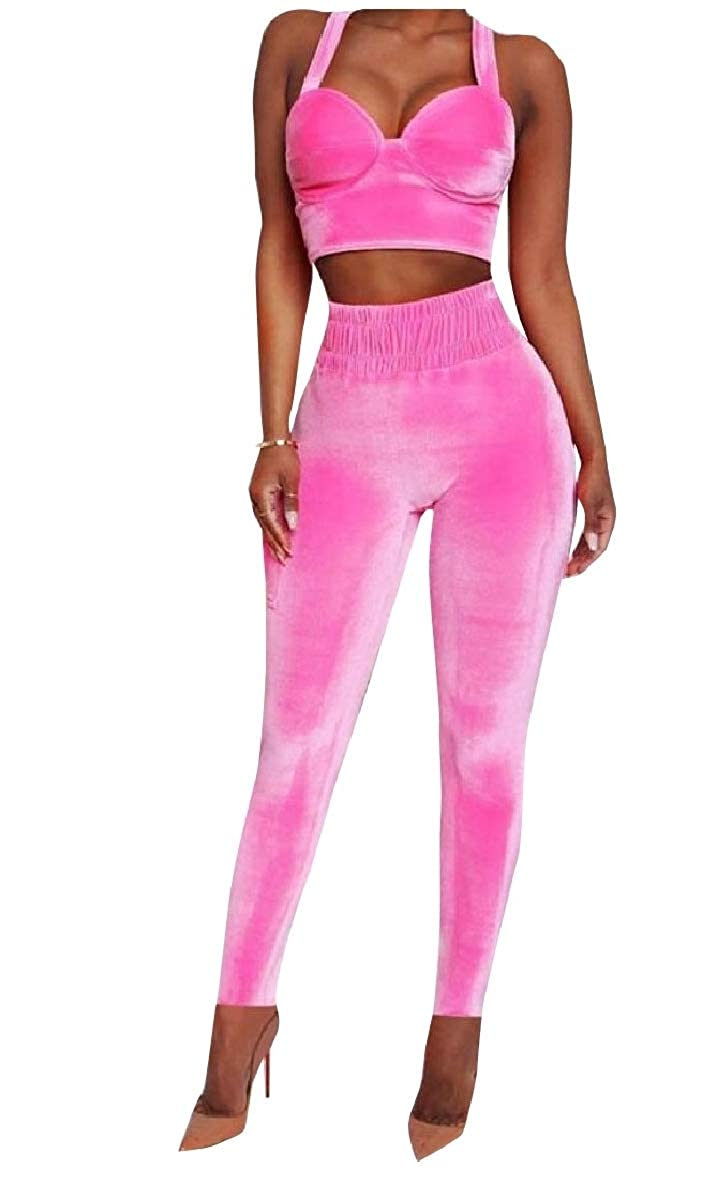 AngelSpace Womens Velvet Workout Fashional 2-Piece Fall Winter Sweatsuit Set