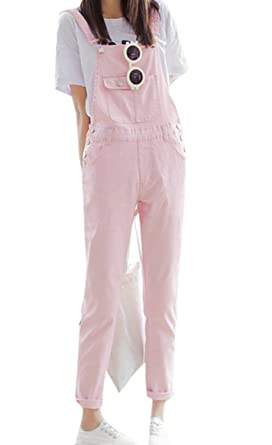 8b3723f6cd Amazon.com  Pivaconis Womens Casual Candy Color Adjustable Strap Denim Big  Overalls Jumpsuit Pink L  Clothing