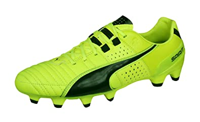 PUMA Mens Firm Ground Soccer Cleats Spirit II FG Leather Football Boots -Yellow-8.5 7fa035b9a