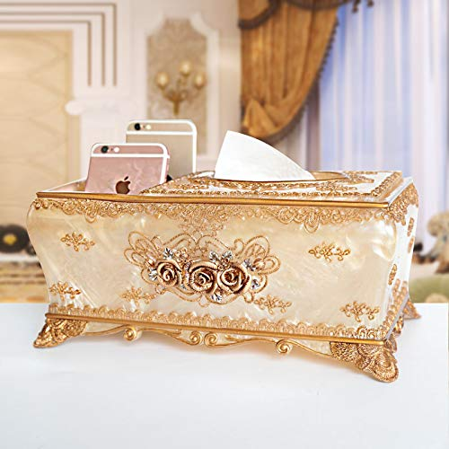T-ZJHC Remote Control Tissue Box Storage Tray Home Living Room Paper Box Multi-Function Tube, Embroidery Rose Gold Multi-Function ()