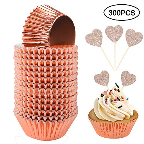 BAKHUK 300pcs Standard Foil Cupcake Liner with Cupcake Toppers, Baking Cup Muffin Paper Case Cake Decoration, Rose Gold