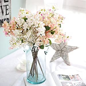 Artificial Fake Flowers,Cywulin Silk Leaf Cherry Blossoms Floral Wedding Bouquet Decor for Wedding Bouquet House Office Garden Inddor Outdoor 85