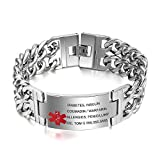 Lam Hub Fong 8.5 inches Free Engraving Emergency Medical Alert ID Bracelets for Men Titanium Steel Life Medical Alert Bracelets for Adults