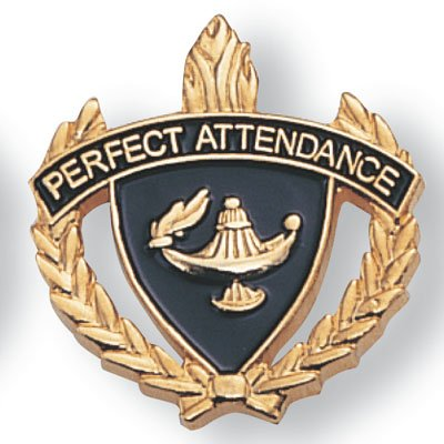 [Perfect Attendance Lapel Pin - Pack of 12] (Attendance Award Pin)