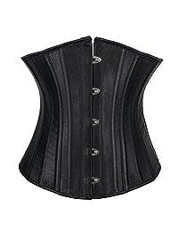 Women's Satin Underbust Waist Cincher Steel Boned Corset Top
