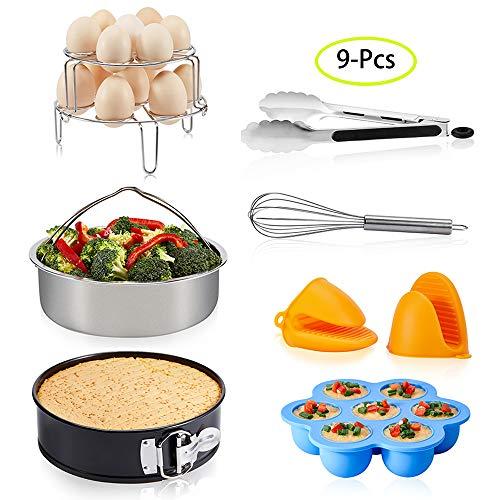LinkingHome Pressure Cooker Accessories Set Compatible with Instant Pot 5 6 8 Qt, Steamer Basket, Springform Pan, Stackable Egg Steamer Rack, Egg Bites Mold, Egg Beater, Kitchen clip, Silicone Mitts