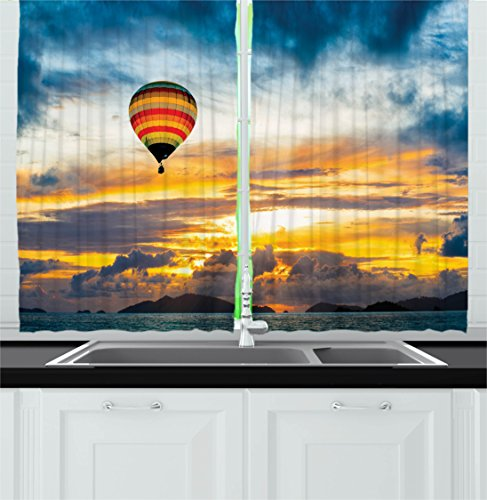 Recreation Window (Skyline Decor Kitchen Curtains by Ambesonne, Hot Air Balloon in Dusk Air over the Sea Cloudscape Sunrise Recreation Image, Window Drapes 2 Panels Set for Kitchen Cafe, 55W X 39L Inches, Blue Orange)