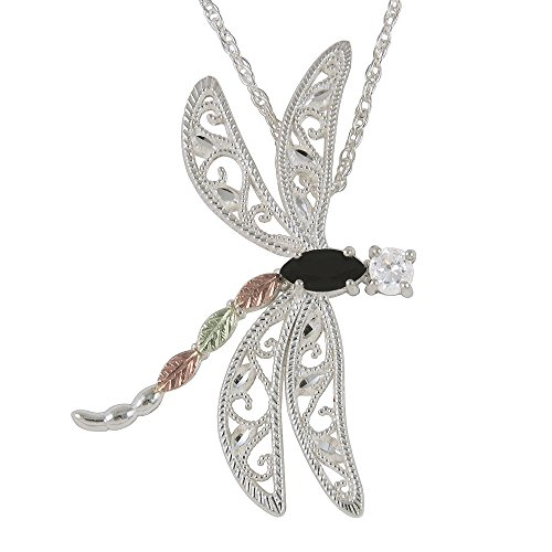 Black Onyx and White CZ Black Hills Silver Dragonfly Pendant