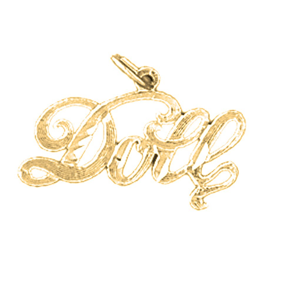 14K Yellow Gold Doll Saying Pendant 16 mm Jewels Obsession Doll Saying Charm Pendant