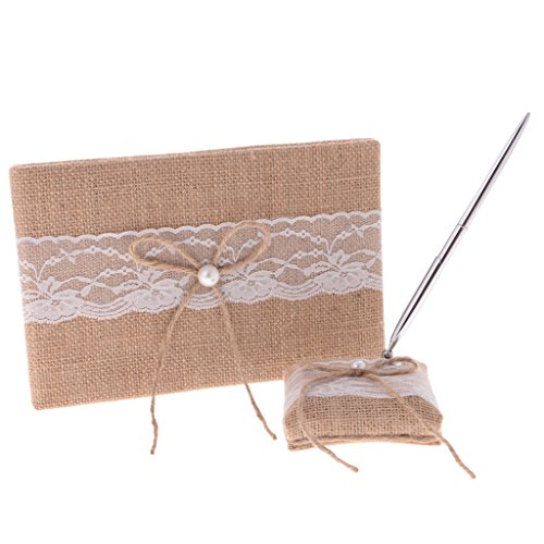 B Blesiya Country Chic Brown Wedding Engagement Birthday Party Burlap Bow Lace Guest Book Pen and Pen Stand Set Gifts ()