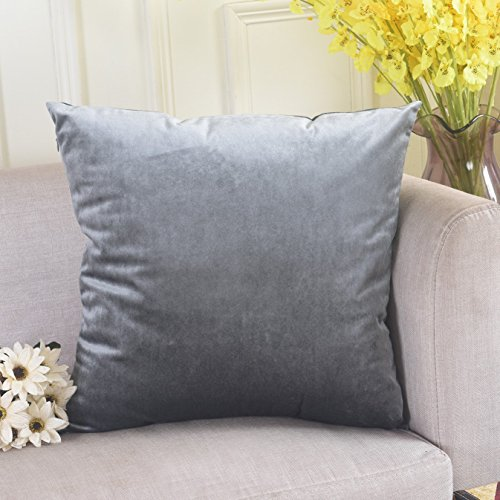 Cushion Cover Soft Velvet Solid Throw Euro Pillow Sham With Hidden Zipper for Floor, 26 x 26(66cm), Gun Metal Grey (Ash Metal Bed)