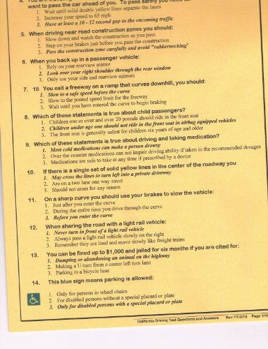 California Dmv Driving Written Test Questions & Answers (All The Answers To The Driving Test)