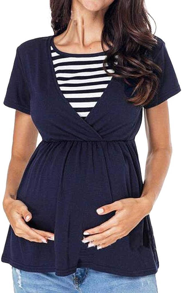 Mitlfuny Camiseta de Mujer Maternidad de Doble Capa, premamá Lactancia Blusa sin Manga Camisas La Maternidad de la Mujer Remata la Camiseta Rayada de la Lactancia del Remiendo: Amazon.es: Ropa y accesorios
