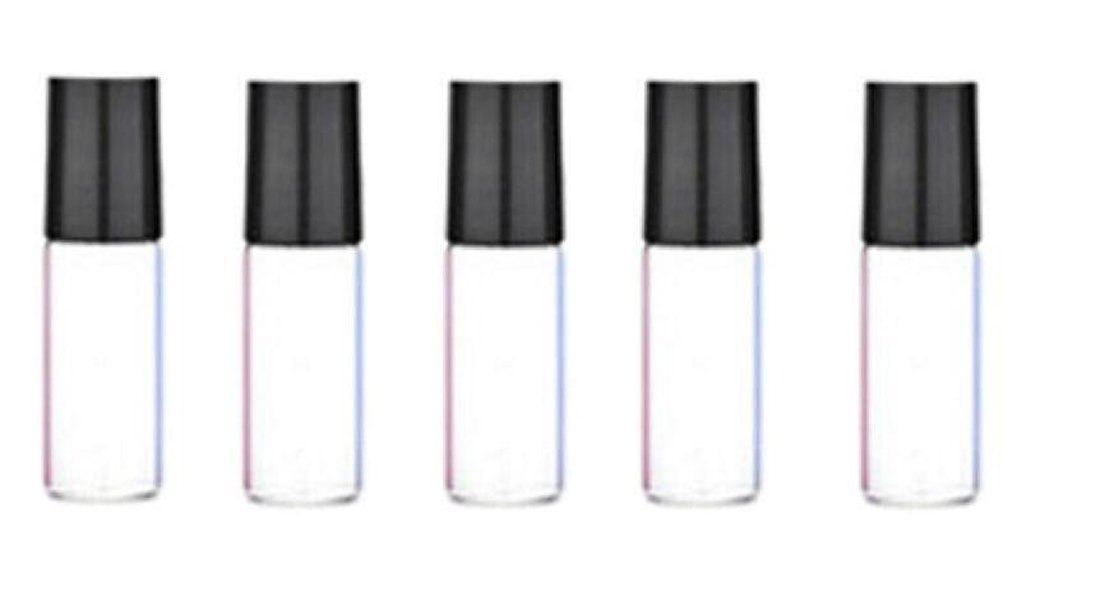 12PCS 5ml Empty Clear Glass Roll on Bottles With Black Cap And Stainless Steel Roller Ball Walking Beads Container For Essential Oil Perfume Lip Balms Aromatherapy ASTRQLE