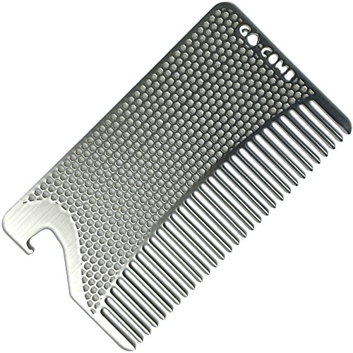 Go-Comb - Wallet Comb + Bottle Opener - Sleek, Durable Stainless Steel Hair + Beard Comb