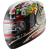 Adult Motorcycle Helmet Full Face Sports Street Bike Helmet Play card DOT (F28) 112 (XXL)