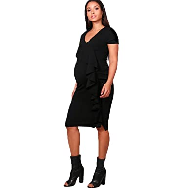 Cima Mode Womens Plain Ruffle Front Frill Laura Maternity Bodycon Cap  Sleeve Midi Dress Small To Plus Size at Amazon Women s Clothing store  7f0d6763b
