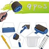 TOURACE 9Pcs/Set Paint Roller Set with Sticks Paint Roller Pro Transform Your Room in Just Minutes Quickly Decorate Runner Tool Painting Brush