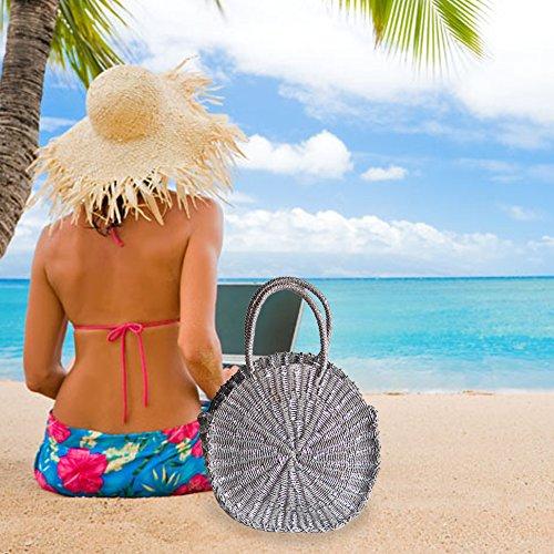 hombro y de para bolso verano de pajita de Dark mujer playa redondo bolso mano naranja de para de mujer mujer Gray Bolso 8wdTqx8