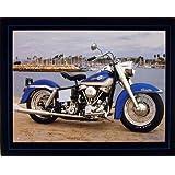 1965 Blue Panhead Harley Davidson Vintage Motorcycle Wall Decor Art Print Poster (16x20)