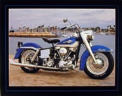 1965 Blue Panhead Harley Davidson Vintage Motorcycle Decor Art Print Poster (16x20)