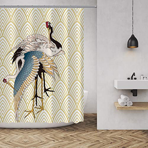 MuaToo Shower Curtain Unique Painting of Two Cranes with Gold Lines in The Background Print Waterproof Polyester Fabric Bathroom Decor Sets with Hooks 72 x 72 Inches ()