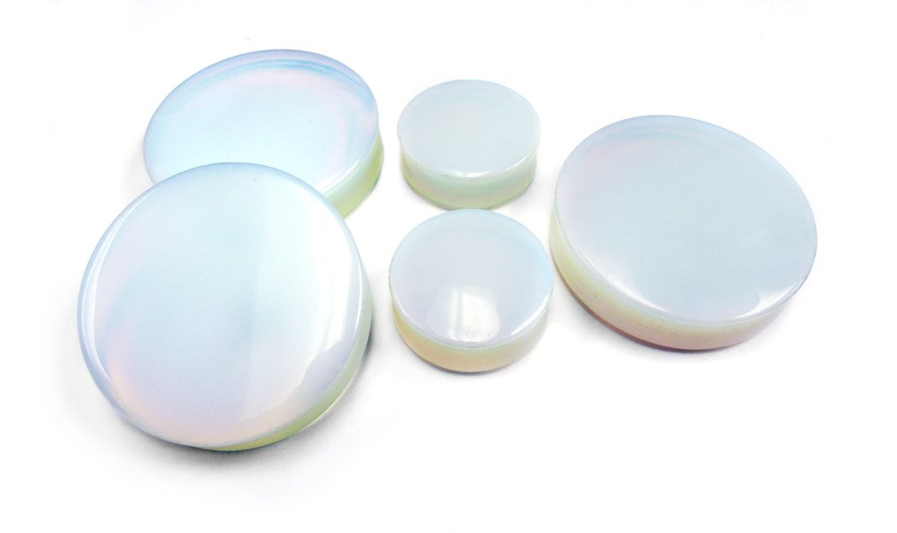 1 Pair of 1 & 3/4 Inch (44mm) Opalite Glass Plugs