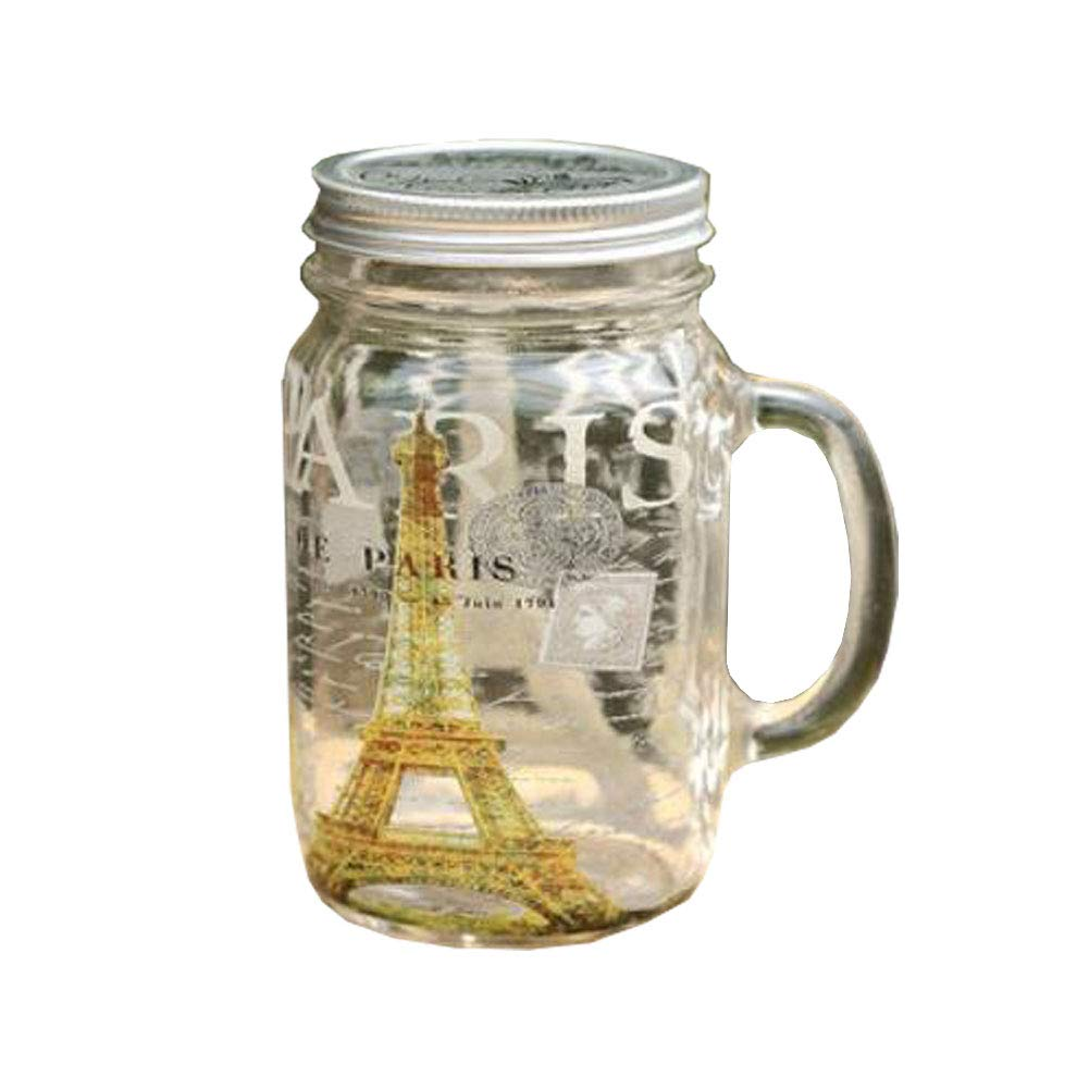 Chinashow Mason Jar Mugs with Handle and Lid Decorative Clear Glass Tumblers Old Fashioned Drinking Glass, Eiffel Tower