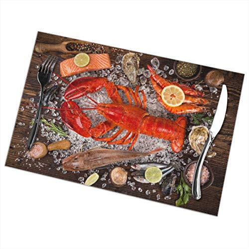 Efbj Washable Placemats for Kitchen Table Dining Room Decor, Boston Lobster Fresh Print Table Mats Rectangle, 6 PCS]()