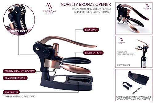 Rabbit Wine Bottle Opener Set: Bronze Metal Manual Wine Opening Accessories Tool Kit for Red, White or Rose Bottles with Elegant Portable Rabbit Opener, Black Foil Cutter, Spiral Corkscrew and Stand by Mandala Wines (Image #6)