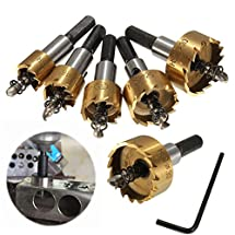 MOHOO 5PCS High Speed Steel HSS Drill Bit Hole Saw Set Stainless Steel Metal Alloy Kit 16mm/18mm/20mm/25mm/30mm